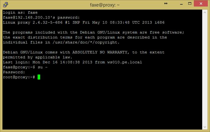 Screenshot einer Linuxanmeldung via Putty und wechsel zum Root