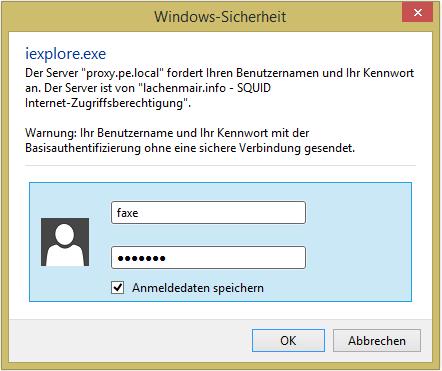 Screenshot der Benutzerabfrage des Internet Explorers bei aktivierter Squid-Authentifizierung