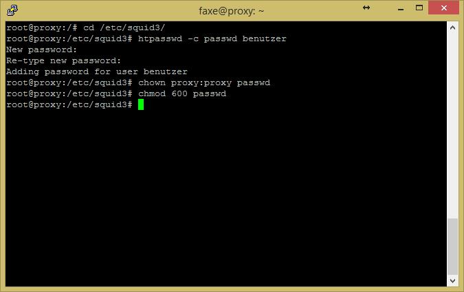 Screenshot einer Linuxshell bei der mit htpasswd ein Passwortfile angelegt wird