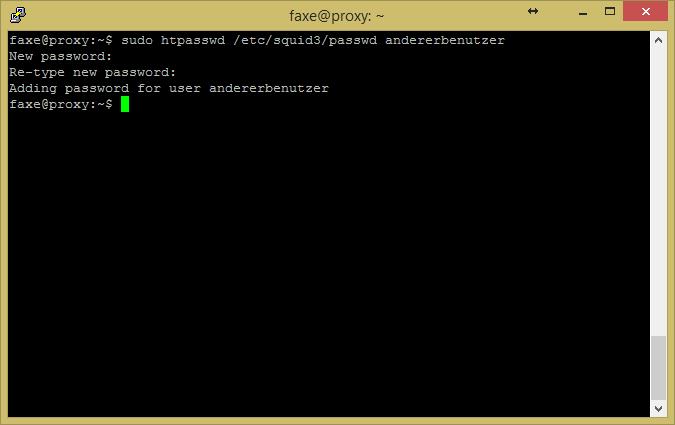 Screenshot einer Linuxshell für die Benutzeranlage per htaccess via SUDO